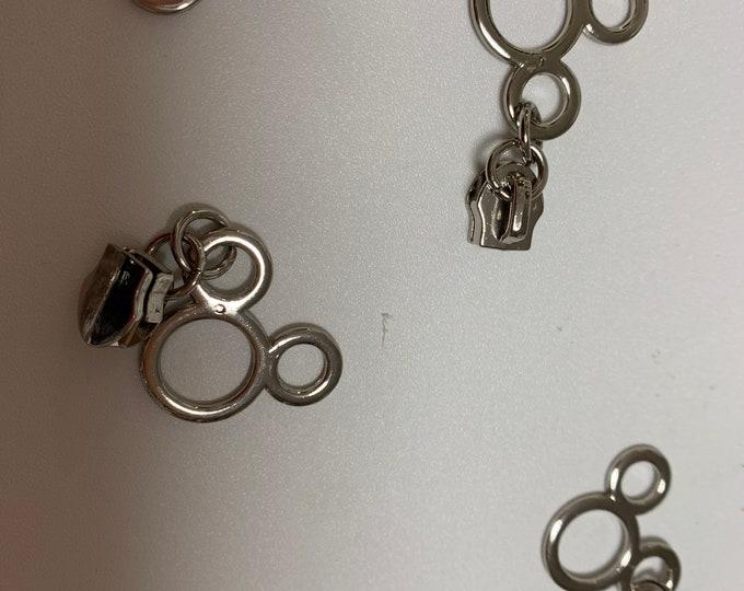 Mouse Ears #5 Zipper Pull In Silver Tone Metal