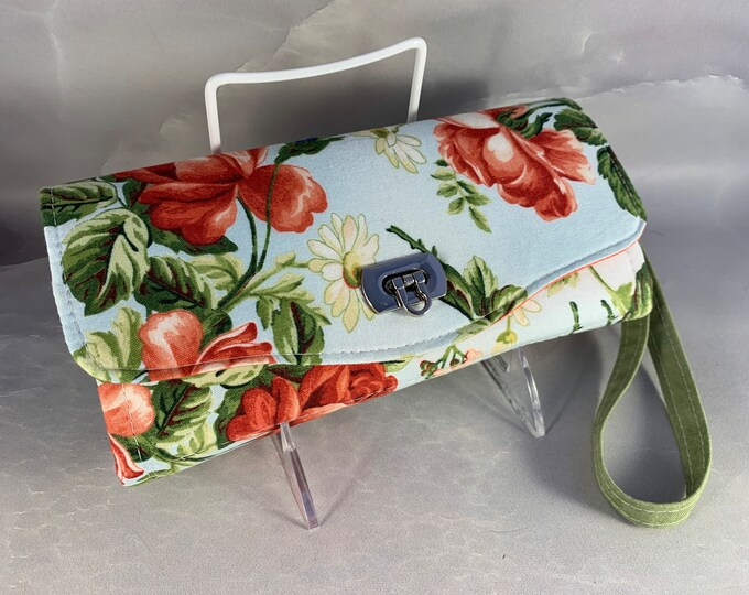 Handmade Coral Roses and White Daisies Clutch/Wallet With Wrist Strap