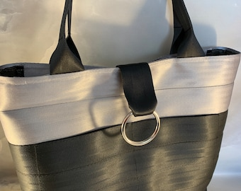 Handcrafted Silver And Black 2 Block Seat Belt Bag/Tote