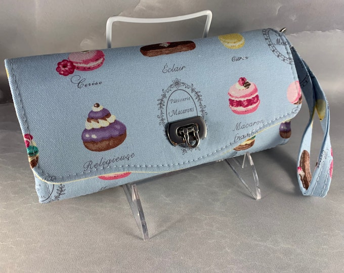 French Pastries on Blue Handcrafted Clutch/Wallet