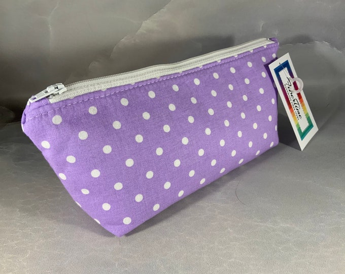 Purple With White Polka Dots Handcrafted Triangle Pouch
