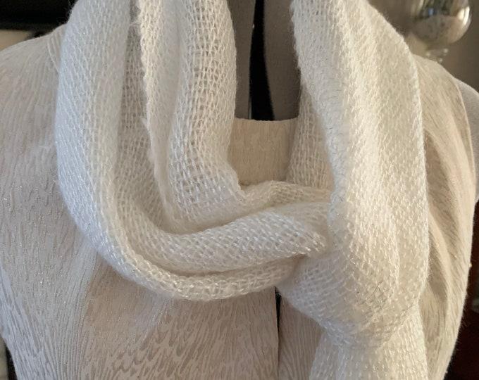 Handwoven Creamy White Open Weave Scarf