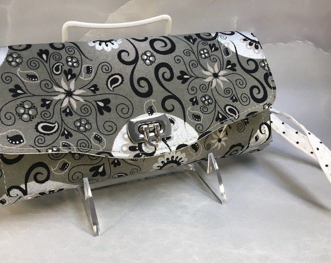 Handmade Black and Silver Floral on Gray Clutch/Wallet With Wrist Strap