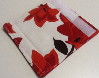 White, Medium And Dark Red Floral Luggage Handle Wrap