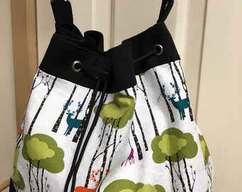 Deer and Woods on White Handmade Draw String Shoulder Bag