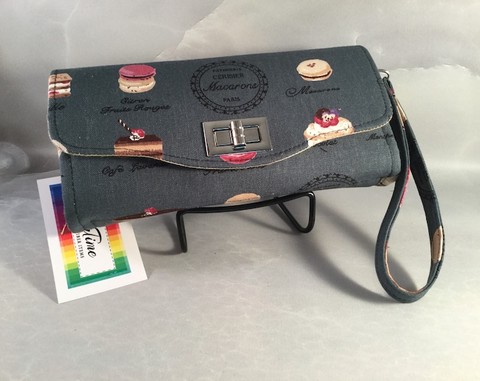 Handmade Macarons Clutch/Wallet With Wrist Strap