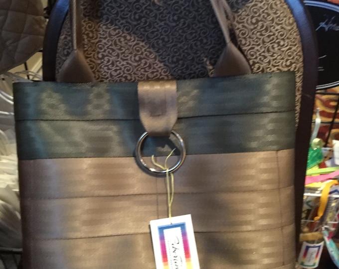 Handmade Army Green/Brown 2 Block Seat Belt Bag/Tote