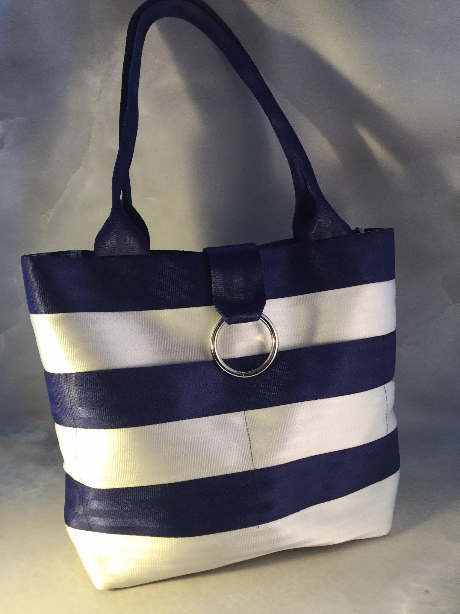 0e384277ee40 Handmade Medium Blue And White Stripe Seat Belt Bag Tote