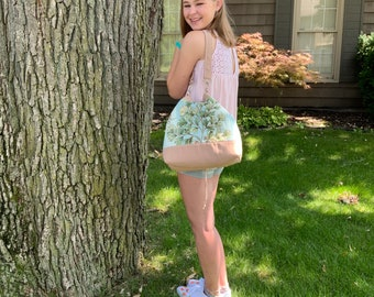 One Of A Kind!  Greenery Drawstring Bucket Bag