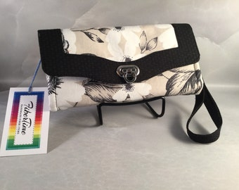 Black Taupe and White Floral Handmade Clutch/Wallet