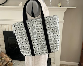 White and Black Daisies on Gray Large Top Zip Handmade Tote Bag