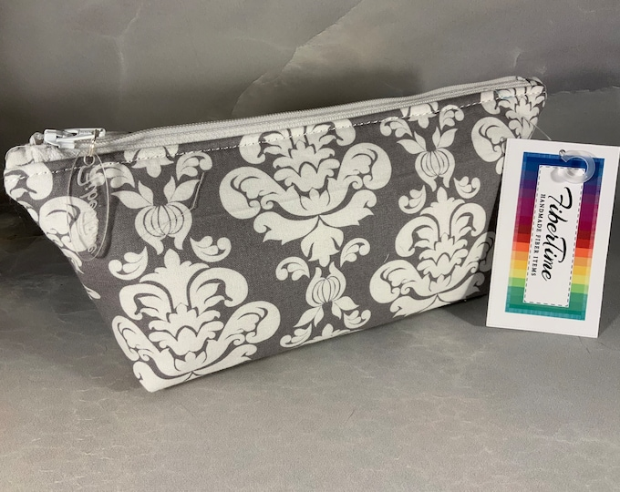 Gray and White Fleur de Lis Handcrafted Triangle Pouch
