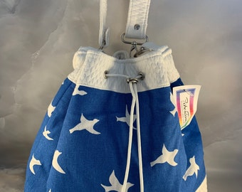 One Of A Kind!  Seagulls on Blue Drawstring Bucket Bag