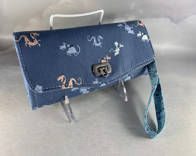 Here Be Dragons Handcrafted Clutch/Wallet With Wrist Strap