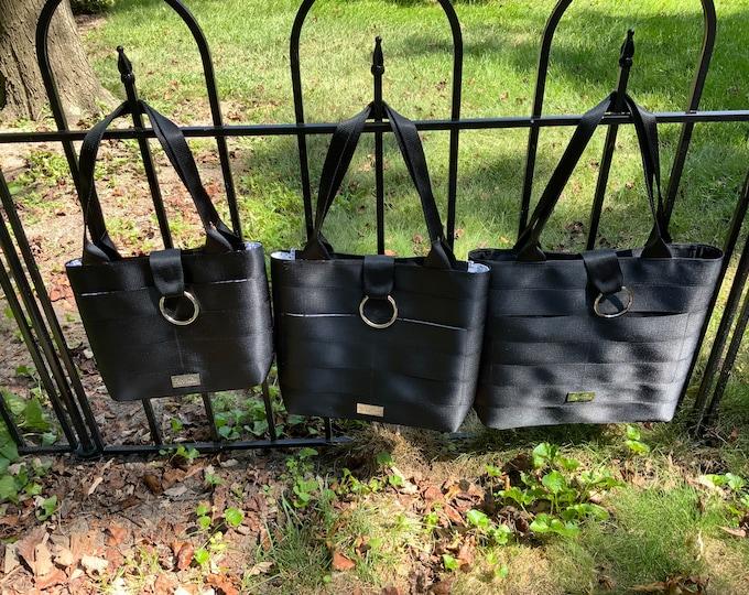 Limited Edition!  Handmade Textured Black Seat Belt Bag/Tote