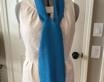 Handwoven Semi-Open Weave Aquamarine Colored Tencel Scarf