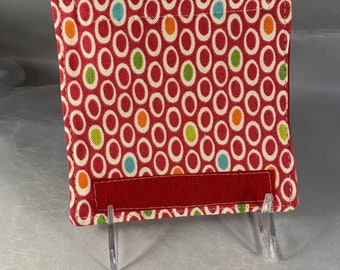 Red And Multi-Colored Ovals Luggage Handle Wrap