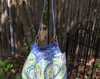 Blue Medallions Handmade Draw String Shoulder Bag