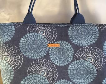 Blue Circles Large Top Zip Handmade Tote Bag