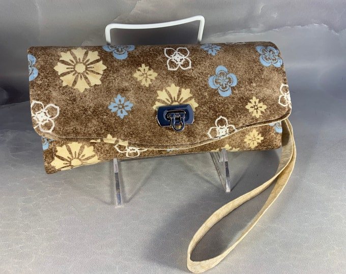 Beige Cream and Blue Floral Clutch/Wallet With Wrist Strap