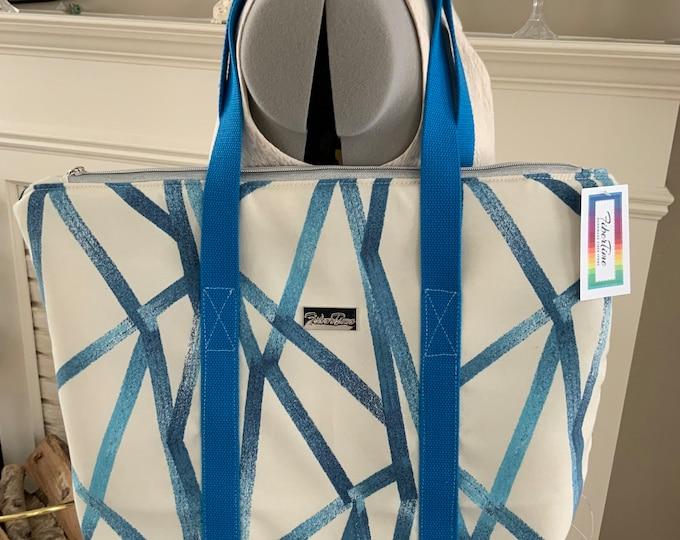 Blue Crosshatch Large Top Zip Handmade Tote Bag