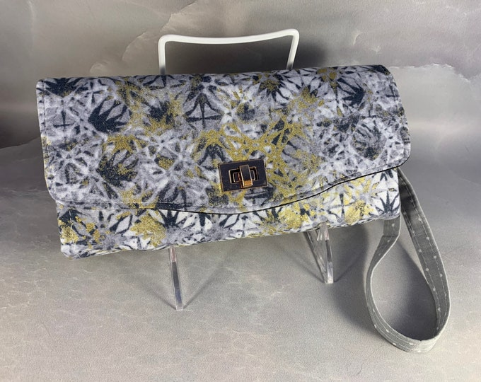 Silver and Gold Geometric Handcrafted Clutch/Wallet With Wrist Strap