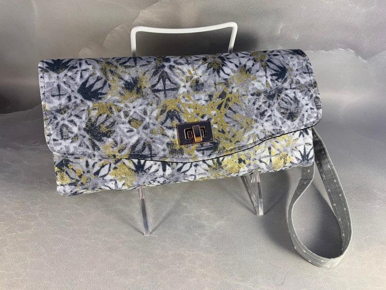 Silver and Gold Geometric Handcrafted ClutchWallet With Wrist Strap