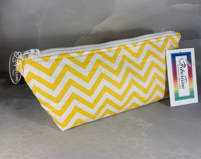 Yellow and White Chevron Handcrafted Triangle Pouch