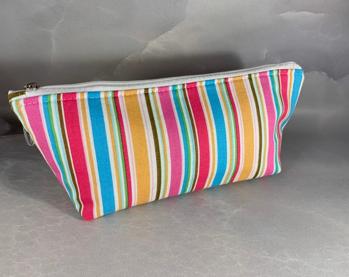 Pastel Stripes Handcrafted Triangle Pouch