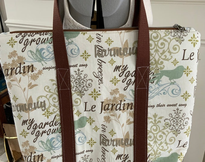 Neutral French Garden Large Top Zip Handmade Tote Bag