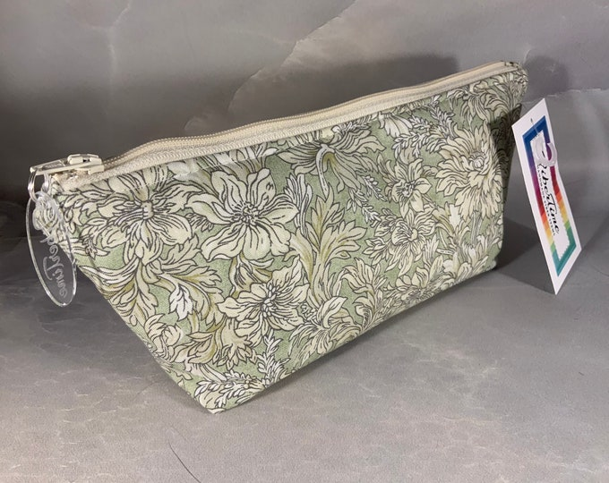 Sage and Cream Floral Handcrafted Triangle Pouch