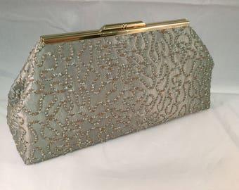 Silver Green And Gold Medium Clutch Bag
