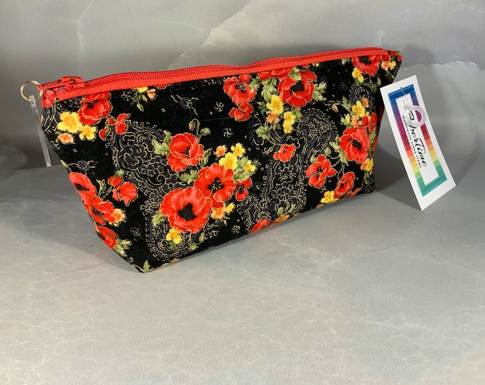 Red Floral on Black Handcrafted Triangle Pouch