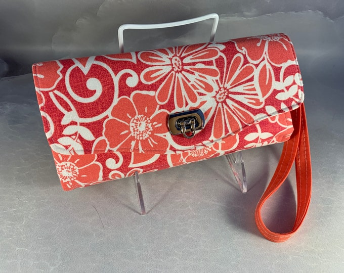 Coral Floral Handmade Clutch/Wallet With Wrist Strap