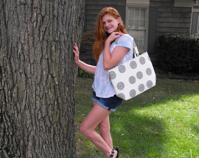 "End of Season SALE!  Handmade  ""Gray Circles On White"" Handmade Tote Bag"
