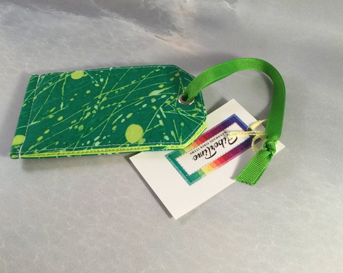 Green With Citrus Green Splashes Handcrafted Luggage Tag