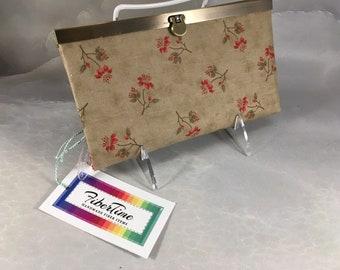 Handmade Red Flowers On Brown Diva Wallet