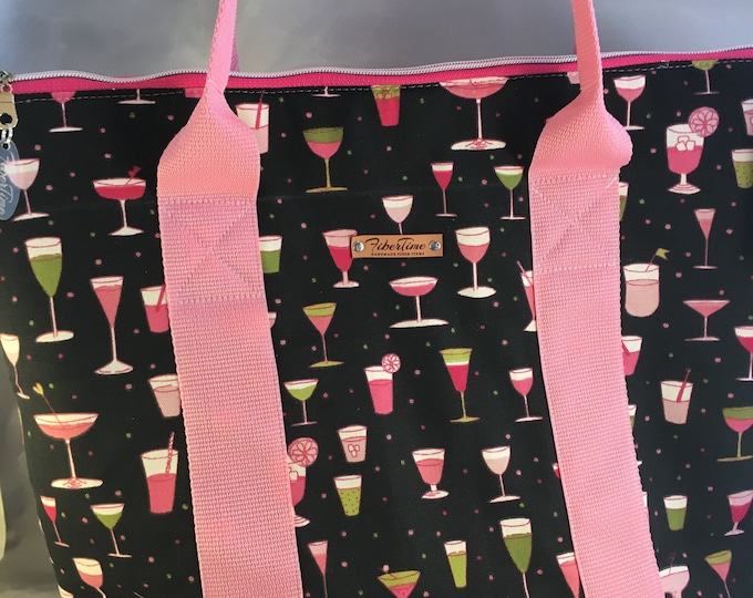 Martinis and Daiquiris Large Zip Top Handmade Tote Bag