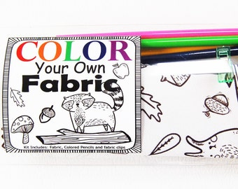 Easter Craft Color Your Own Fabric - Woodland Girl- Kids Craft Kit - Gift Idea - DIY - Stocking Stuff -  Easter Basket Craft For Kids