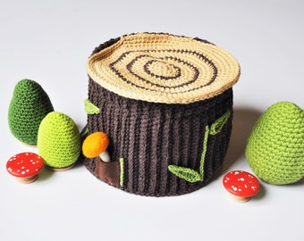 Crocheted Woodland Log Play House - Pretend Play Woodland Animals - Set With Trees