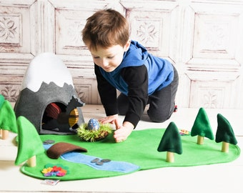 Mountain Cave Play Set- Felt Floor Play Mat- Dragon Cave - Woodland Mountain Set - Pretend Play - Toys For KidsChristmas Toy