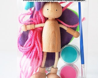 Spring Kids Craft Kit - Create A Bendy Doll Kit - Kids Craft Kit - Learn To Paint - Gift Idea - Design Your Own Dollhouse Doll