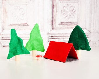 Camping Tent With Trees - Felt Tent Add-On For Felt Play Mat