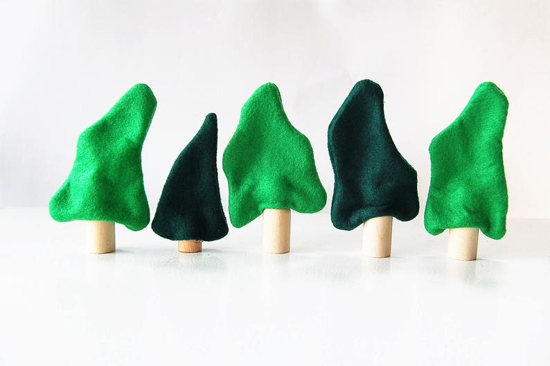 Set Of Five Felt  Trees Enchanted Forest Woodland Trees Unique Gift- Zooble Christmas Toy