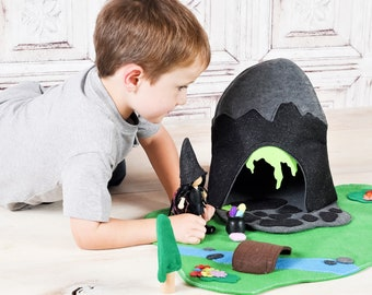 The Creepy Cave Felt Play Set - Evil Lair - Witch Mountain - Fall Halloween Toy - Zooble Christmas Toy