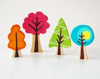 Enchanted Forest Woodland Tree Set Of 4 - Woodland Nursery Theme - Wooden Trees - Unique Gift