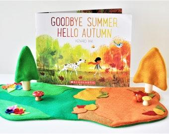 Fall Book Play Pack - Good Bye Summer Hello, Autumn Felt Play Set - Educational Toy