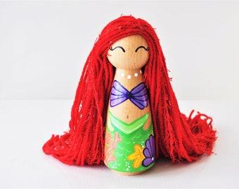 Extra Large Jumbo 6.2 Inch Tall Peg Doll - Ocean Waves Little Mermaid- Rainbow Yarn Hair - Gift Idea For Kids