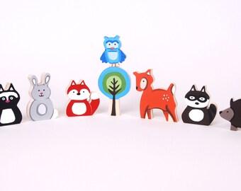 Woodland  Animal Family - All Wood Toy Set - 8 Piece Set - Woodland Nursery Theme - Unique Baby Gift - Zooble