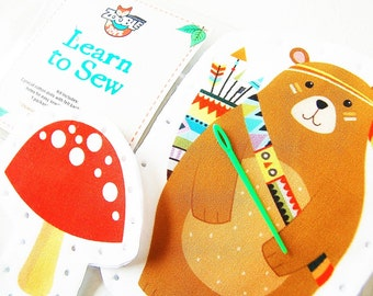 Easter craft  Kids Sewing Kit - Kids Craft Kit - Learn To Sew Kit - Gift Idea - My First Sewing Kit - Tribal Bear and Mushroom DIY
